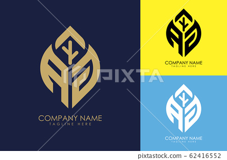 Initial letter A G with abstract leaf logo sign symbol 62416552