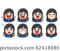 일러스트 소재 여고생 학생 아이콘 표정 포즈 귀여운 캐릭터 62418686