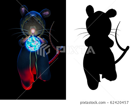 3d rendering character of the wizard mice fortune teller with a magic crystal ball, isolated on black background with alpha channel section on the right side. 62420457