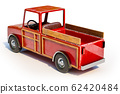 3d rendering of The red retro toy truck for 62420484