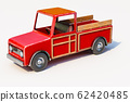3d rendering of The red retro toy truck for 62420485