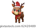 3d rendering character of a cute little reindeer wearing a Santa hat and red scarf for Christmas season, isolated on white background with clipping paths. 62420489
