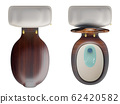 3d rendering top view a set of the white ceramics toilet bowl with low-level cistern and wooden lid top, isolated on white background with clipping paths. 62420582