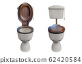 3d rendering a set of the white ceramics toilet bowl with low-level cistern and wooden lid top, isolated on white background with clipping paths. 62420584