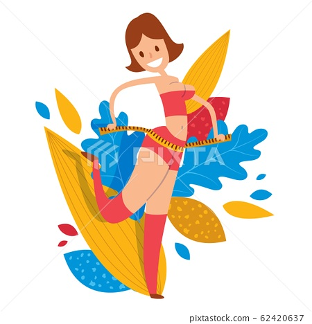 Woman with measuring tape around her body vector illustration. Female cartoon character with slim waist, fitness lifestyle concept. 62420637