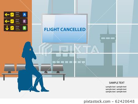 Flight cancelled air travel concept vector 62420648