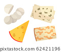 Various types of cheese. Modern flat style realistic vector illustration icons, isolated on white background 62421196