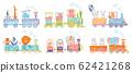 Cartoon set with different animals on trains. Fox giraffe monkey elephant bear pigs bunny tiger behemoth parrot. Flat vector elements for postcard, book or print 62421268