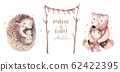 Watercolor Mothers day card - mother hedgehog and bear embrace her child. Little baby and mother watercolour cartoon nursery. Forest funny young hedgehog illustration. Mom and baby shower decor 62422395