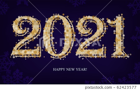 2021 Happy New Year text shiny golden sparkling confetti on dark blue 62423577