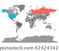United States and Russia highlighted on political map of World. Vector illustration 62424342