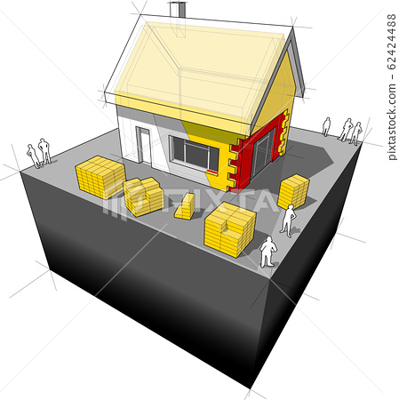 diagram of a detached house with additional wall and roof insulation 62424488