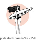 girl stands with surf on a white background 62425158