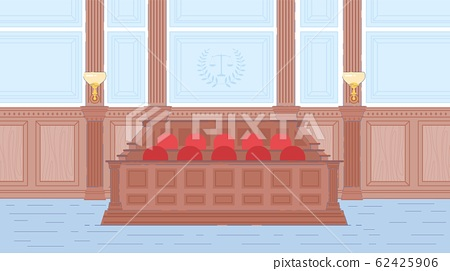 Jury Box in Court or Trial House Hall Interior. 62425906