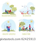 Summer Recreation Flat Vector Illustrations Set 62425913