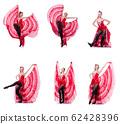 Woman dancer dancing dances on white 62428396