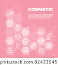 Cosmetic pink background with icons and signs 62433945