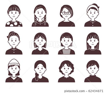 Female icon _ monochrome _ solid 62434871