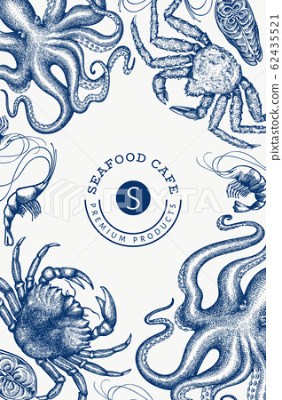 Seafood design template. Hand drawn vector seafood 62435521