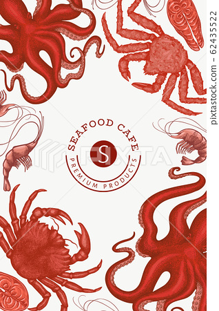 Seafood design template. Hand drawn vector seafood 62435522