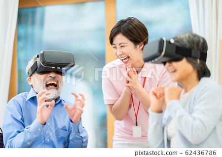 休閒VR虛擬現實護理圖像高級日托護理工作者養老院 62436786