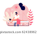 Massage. Woman enjoy relaxing spa. Professional body and muscle pain treatment with doctor. Wellness and healthcare vector concept 62438962