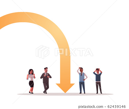 businesspeople frustrated about economic arrow falling down financial crisis bankrupt investment risk concept mix race stressed employees standing together full length 62439146