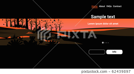wolves silhouettes escaping from forest fires in australia wildfire birds flying over bushfire burning trees natural disaster concept intense orange flames horizontal copy space 62439897