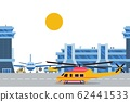 Helicopter and plane in airport, international aircraft base vector illustration 62441533