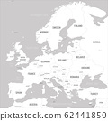Europe map - white lands and grey water. High detailed political map of european continent with country, capital, ocean and sea names labeling 62441850