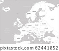 Europe map - white lands and grey water. High detailed political map of european continent with country, capital, ocean and sea names labeling 62441852