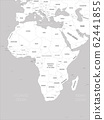 Africa map - white lands and grey water. High detailed political map of african continent with country, capital, ocean and sea names labeling 62441855