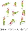 Isometric illustration of girl doing yoga poses or asana 62443707
