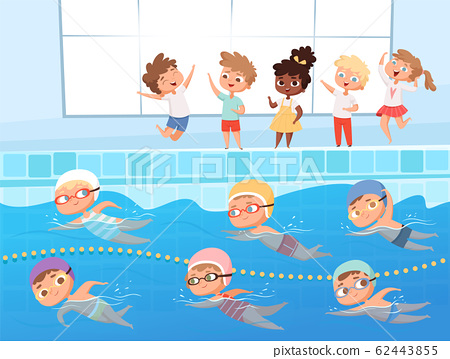 Swimming competition. Kids water sport swimming race in pool vector cartoon background 62443855