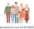 Happy family. Mother father kids and grandparents standing together vector big family portrait 62443869
