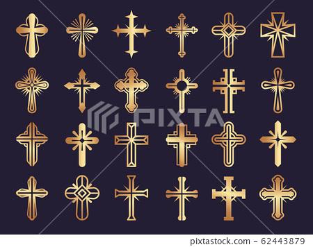 Christians cross. Religion vector symbols jesus catholicism tribal authentic vector icons set 62443879