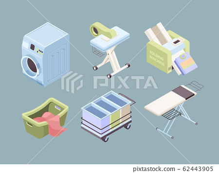 Laundry isometric. Fabric bubbles clean service towels dirty spot laundromat soap vector collection 62443905
