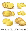 Realistic potatoes. Grocery natural products vegetables fresh sliced eco food plants for vegetarian vector set 62443953