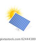 Highly Detailed Solar Panel. Modern Alternative Eco Green Energy. Vector stock illustration. 62444389
