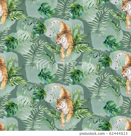 Seamless watercolor animal tiger pattern with tigers with tropical leaves, aloha jungle hawaiian. Hand painted palm leaf. Texture with tropic summer background, paper, textile or wallpaper design. 62444813