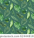 Seamless watercolor pattern of tropical leaves, aloha jungle decoration. Hand painted palm leaf. Texture with tropic summer time used as background, wrapping paper, textile or wallpaper design. 62444818