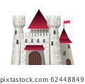 Cute fairy tale castle. Vector illustration with simple gradients. The facades of the fortresses. Vector illustration 62448849