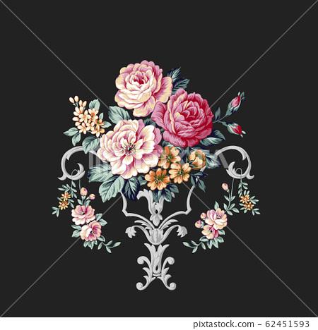 洛可可紋樣與花卉的素材組合 62451593