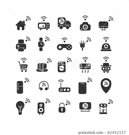 Internet of Things solid icon set. Vector and 62452157