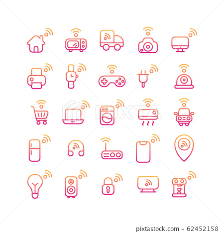 Internet of Things gradient icon set. Vector and 62452158