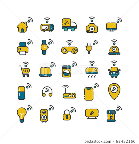 Internet of Things filled outline icon set. Vector 62452160