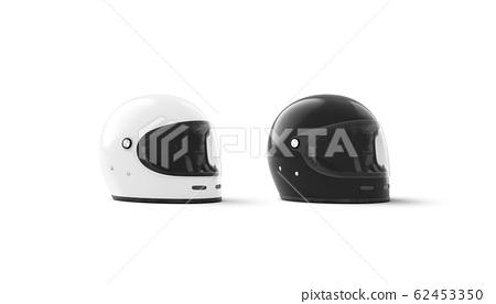 Blank black and white bike helmet mock up, half-turned view 62453350