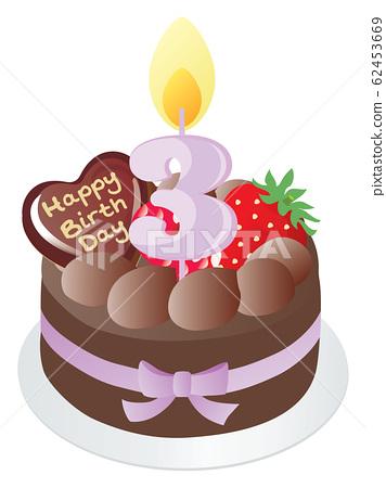 Awesome Birthday Cake And Number Candle Chocolate 3 Stock Personalised Birthday Cards Akebfashionlily Jamesorg