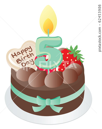 Superb Birthday Cake And Number Candle Chocolate 5 Stock Funny Birthday Cards Online Fluifree Goldxyz