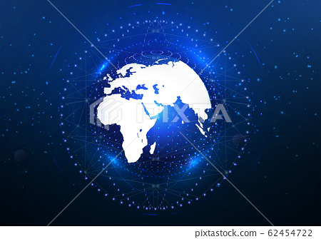 Global Internet. Satellites cover the earth with high-speed Internet. Satellites in orbit. View from space. The night sky, the earth. Vector